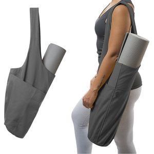 Мода Yoga Mat сумка Холст Йога сумка Большой размер молния карман подходит для большинства Размер Маты Tote Sling Carrier Фитнес товары