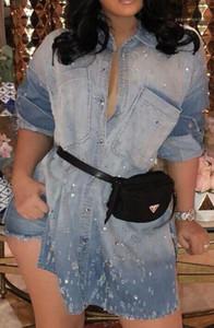 Bahar Casual Boncuk Tasarımcı Kadınlar Giyim Tek Breasted Gömlek Elbise Jean Elbise Yıkanmış