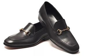 2Leather men leisure dress shoe part gift doug shoes Metal Buckle Slip-on Famous brand man lazy falts Loafers Zapatos Hombre 39-46