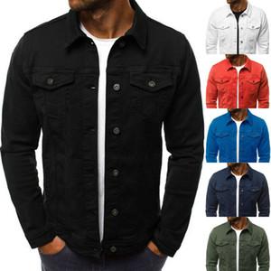 Hirigin Nuevas camisas de dril de algodón abrigos de gran tamaño chaqueta de Jean clásicas del estilo occidental de la calle del club del camionero Solid Denim chaqueta de la capa Outwear