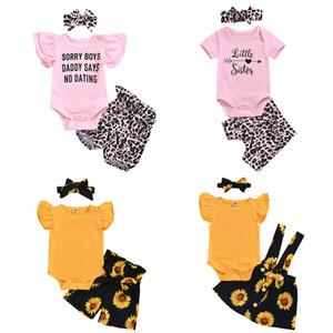 Bebek Bebek Karikatür Suits 7 Ayçiçeği fırfır Kıyafetler Çocuk Tasarımcı Giyim Kız Leopar Baskılı Harf Şort Headband 060.320 Tops Tasarımları