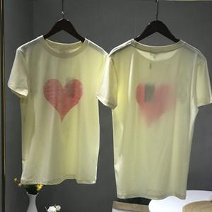 estilo del corazón de las mujeres de algodón Camiseta de manga corta Mujer mujeres de la camiseta remata la camisa trabajo de la manera camiseta floja