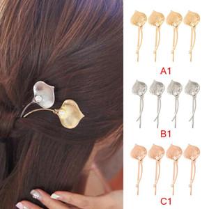 4adet Calla Lily Çiçek Simüle İnci Altın Gümüş Metalik Saç Klipler ve iğneler Bitki Barrette Kadınlar Şapkalar Aksesuarlar