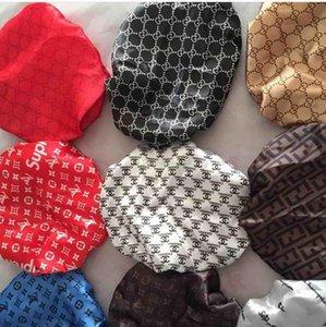 Designer Durag muslimischen Frauen Stretch Schlaf Turban Mütze Schal Silky Bonnet Chemo Beanies Caps Krebs Kopfbedeckung-Kopf-Verpackungs-Seidensatin Haar Motorhaube