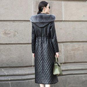 Além disso szie 4XL couro genuíno Revestimentos das mulheres Coats New Pure pele de couro de carneiro casaco longo Overcoat LX918
