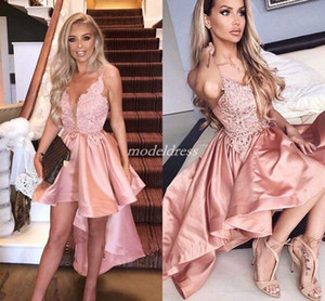 Pink High Low Cocktail Party Dresses Spaghetti Appliques Backless Hi-Lo Short Evening Prom Party Gowns Homecoming Dress Plus Size 2019