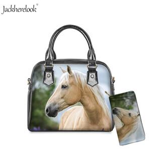Jackherelook Handbag for Ladies White Horse Print Crossbody Bag And Wallet PU Leather Tote Casual Bag Purse 2pcs Women's Handbag