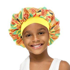 New Child Wide Band African pattern print silky bonnet Ankara cap silky Night Sleep Hat Hair Loss Cap Ladies Turban Headwear
