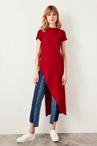 Trendyol Burgund Asymmetrisches Strick lange Bluse TWOSS19VG0116