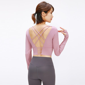 Belt Chest Pad Hollow Out Beauty Back Long Sleeve Yoga Clothing Professional Sports Fitness Top Female