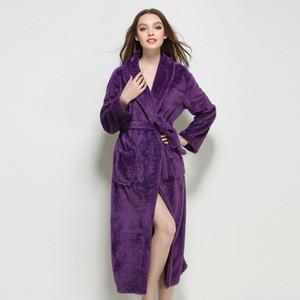2019 large size 5XL Lengthened Thermal Plush Shawl long thick coral fleece bathrobe robe Underwear Warme Kleding fashion Set