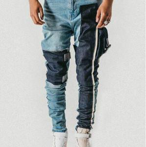 Amarrado bolso afligido Jeans slim cônicos Biker Jeans Hip Hop Cotton Streetwear Non-stretch