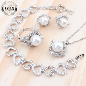 Cubic Zirkonia Perle Braut Luxuxschmucksachen Sets 925 Ohrring-Armband Hochzeit Kostüm hängenden Ring-Halsketten-Sätze für Frauen