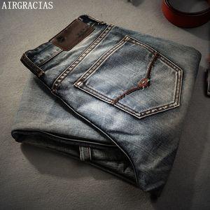Airgracias Retro Nostalgia Straight Denim Jeans Plus Size 28-40 Casual uomo Pantaloni lunghi Pantaloni Brand Biker Jean C19040401