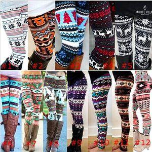 2019 Colorful christmas Snowflakes Reindeer Printed Silk Legging girls Women spring autumn Warm Bootcut Stretchy Pants Nordic