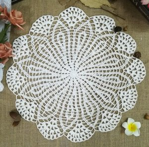 40cm Vintage Crochet Kupası Pad Mug Doily Placemat Cam Coaster Noel Placemats Tablo Peçeteler Düğün Dekor Mutfak Masa Mats