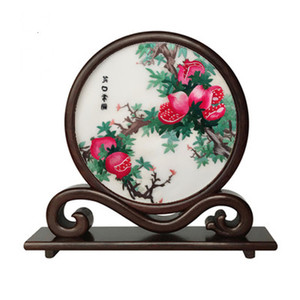 Antique Chinese Office Home Decor Crafts Ornaments Hand Embroidery Silk Works with Wenge Wood Frame Table Accessories Decorations Gifts