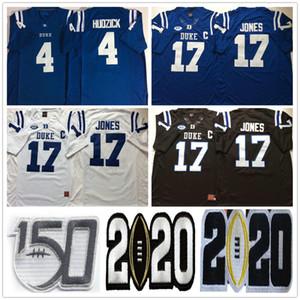 NCAA Duke Blue Devils Колледж # 17 Daniel Jones Джерси Главных Синие Черные Белые 4 Myles Hudzick прошитых 150-й трикотажных изделий футбола рубашки S-XXXL