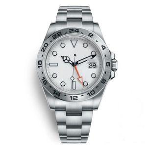 2019 ساعة اليد الفاخرة الفولاذ المقاوم للصدأ حالة GMT 2813 التلقائي المعصم الميكانيكية الأبيض الأسود الرجال رجل مستكشف مشاهدة الساعات