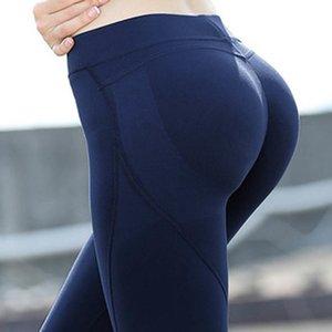NWT Eshtanga Kadınlar Sıkı Spor Sıcak Kalça Yukarı Tozluklar Yoga Pantolon Yüksek Katı Skinny Stretch Tayt XSbedeni-XL Y200529 itin