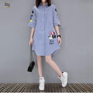 2019 Mulheres de Verão de manga curta Imprimir soltas Vestido Femme Lazer Moda Rodada Collar Miniskirt Mini vestido vestido roupas de grife