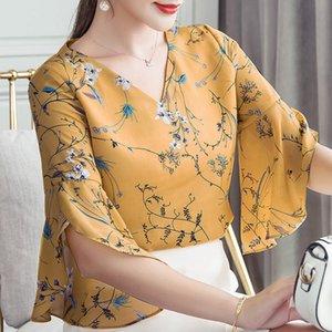 Ribbonfish mulheres Verão Estilo flores impressas blusas Camisas Lady Casual Curto alargamento da luva Bow Tie V-Neck Blusas DD1504