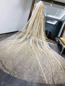 Сияющие роскошные шампанское золото свадебные фаты 3 м длиной собор длина фата для новобрачных для женщин аксессуары для волос