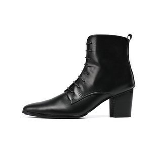 Gothic Mens Rock Pointed Toe Knight Boots Punk Lace Up Motor Biker Cowboy Boots Runway High Top Med Heels Genuine Leather Shoes