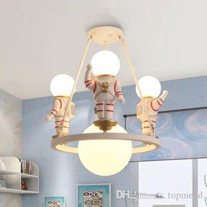 HOT 만화 크리 에이 티브 우주 비행사 샹들리에 소년 침실 어린이 방 램프 미국의 개별 LED 우주 색 샹들리에 조명