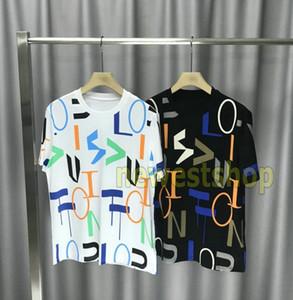 2020 homens novo Primavera-Verão Europa Moda de Paris geometria colorida Logo impressão desenhista da camisa de t t-shirt das mulheres dos homens de manga curta de algodão T