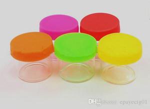 небольшой стеклянный опарник ясный с красочной крышкой силикона для масла мазка воска 6мл вокруг отсутствие контейнеров шеи стеклянный контейнер концентрата опарников мазка