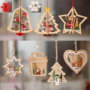 Noel Ahşap Süsler beş köşeli Yıldız Oyma Noel Ağacı Pencere Süsler Çan Kar Tanesi Kardan Adam Elk Için Kolye XD21170