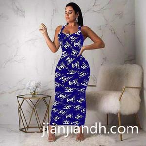 vestido de moda de alta gama transfronteriza K8060 2019 verano europeo y correa de impresión de la letra de las mujeres americanas vestido 719