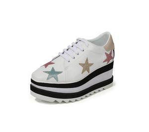 جلد حقيقي منصة مربعة المنحدر سميكة ستيلا بريت أحذية منصة إليز ناعم ستار Derbys الوتد الدانتيل متابعة الأزياء والأحذية