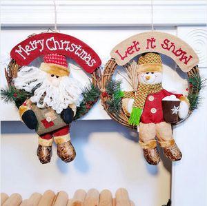 Рождественский венок 33см Xmas Rattan двери платяной рождественские подарки Vine кольцо стены цветок Гирлянда Снежный человек Санта украшения LJJP292