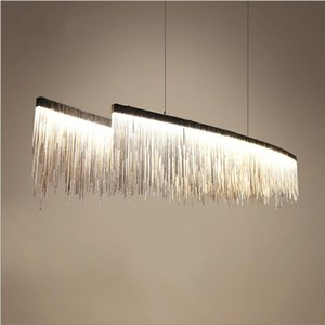 Cadena de plata moderna Rosegold cabeza del doble de aluminio de la borla de la lámpara pendiente de la borla de lujo de diseño nórdico luces colgantes Cadena