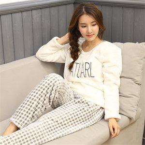 Primavera / invierno Casual Mujer Pijama Set Gato de Dibujos Animados de Impresión Bordado Inicio ropa de Dormir Cálido Sexy Franela 2019 Señora de La Moda Pijamas J190704