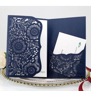Azul marinho lindo Shimmy Convites de casamento DIY Laser Cut três dobras bolso Convite de casamento com o cartão de RSVP