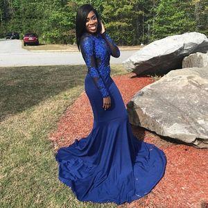Dress Prom Dresses Abiti da sirena Navy Blue Jersey lunghi abiti del partito applicazioni di perline donne maniche lunghe abiti Prom