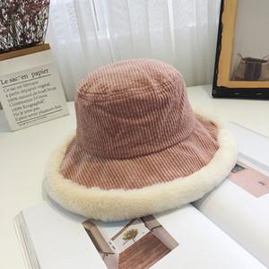 Mujeres Winter pana del sombrero del cubo de Harajuku grande elegante ancha sombra del borde de empalme algodón de la felpa del sombrero de Panamá Japonés Sun