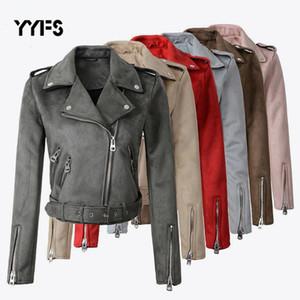 FAUX PU in pelle scamosciata in pelle scamosciata corta giacche da donna cappotto da moto donna 2019 moda motociclista giacche plus size jaqueta de couromx190921