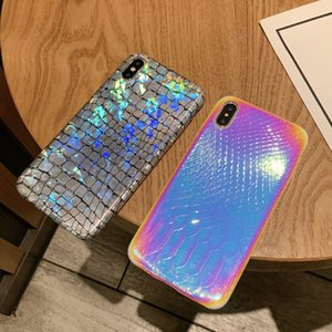 Summer BlingBling Laser Gradient Holographic Magic Color Holo Croc Crocodile Soft Leather Case For iPhone 11 Pro XS Max XR X 6 6S 7 8 Plus
