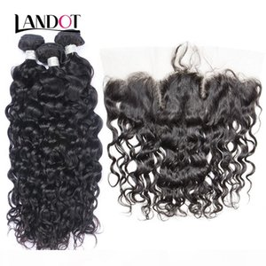 Brazilian Virgin Hair Lace Frontal Closures With 3 Bundles Peruvian Indian Malaysian Water Wave Wet And Wavy Natural Color Human Hair Weaves