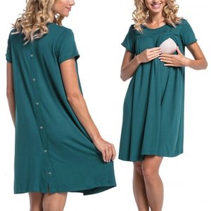 ENXI Casual Maternity Nursing Dress Clothes Pregnancy Pregnant Solid Breastfeeding Women's Dress Mother Home ClothesMX190910