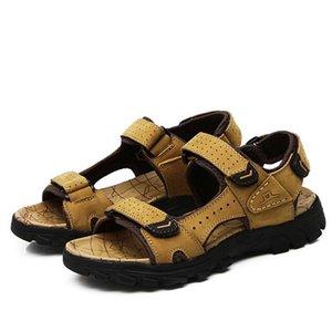 Мужчины сандалии лето натуральная кожа сандалии свободного покроя Sandalias Хомбре masculina от обуви коровьей толстым дном анти -- выскальзования