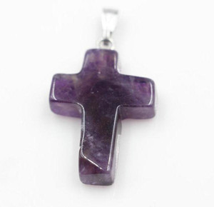 Amethyst GEMSTONE Cross Pendants Semi Precious Stone Beads Silver Plated Hook Fit Bracelets and Necklace DIY JEWELRY MAKING