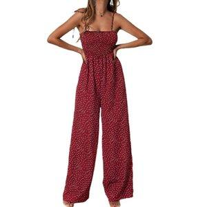 Summer Jumpsuit Women Polka Dot High Waist Rompers Boho Yellow Spaghetti Strap Top Wide Leg Pants Female Clothes Ladies