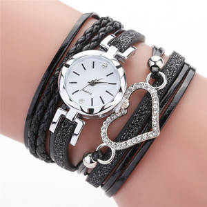 Diamante Coração Amor Women Watch Cristal Braid Winding pulso Wathches Moda Bracelet Dial Quartz Relógio de pulso PU Leather Watch Band 2020 presentes