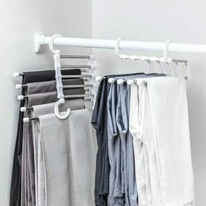 Портативная вешалка многофункциональных брюки Стеллаж из нержавеющей стали Брюки Holder Одежда Организатор хранение Rod Белого