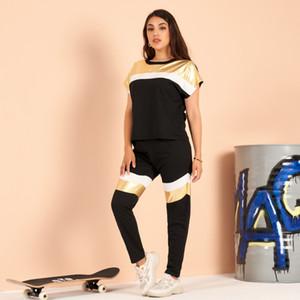 Summer Women Sport Suit 2 Piece Pants metallic preppy dress color-block stretch-knit sportswear home fashion dress S-3XL